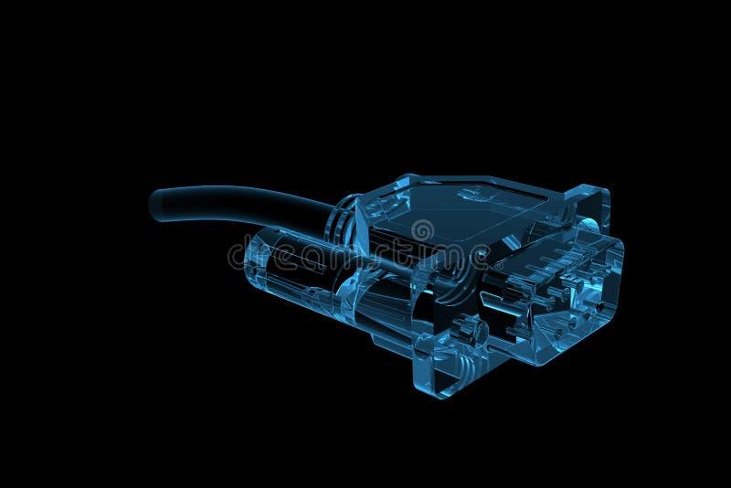 El socket 3D rindió transparente azul de la radiografía stock de ilustración