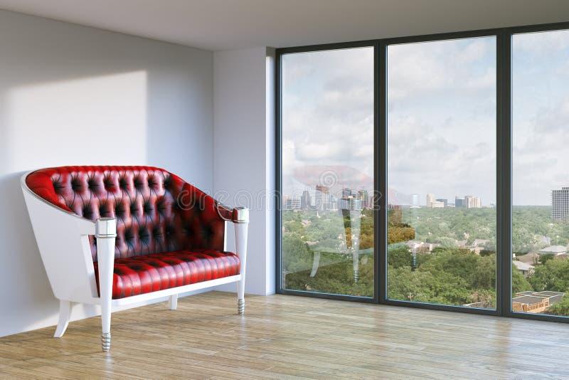 El sofá de cuero clásico rojo en blanco empareda el sitio interior con urbano stock de ilustración