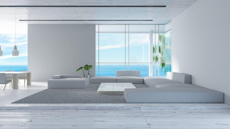 El sofá de madera del piso de la sala de estar interior moderna fijó la representación del verano 3d de la opinión del mar diseño libre illustration
