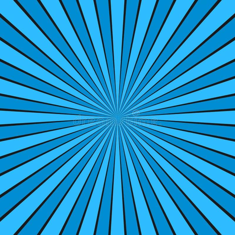 El sol abstracto dinámico irradia el fondo - diseño gráfico cómico de vector del modelo radial de la raya ilustración del vector