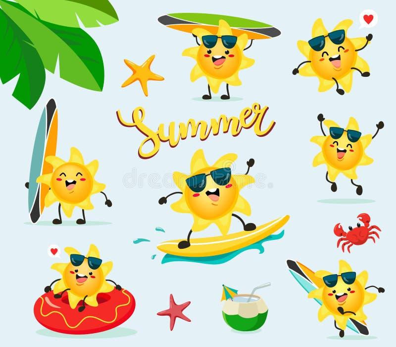 El sol alegre está descansando sobre la playa Vector fijado en estilo de la historieta ilustración del vector