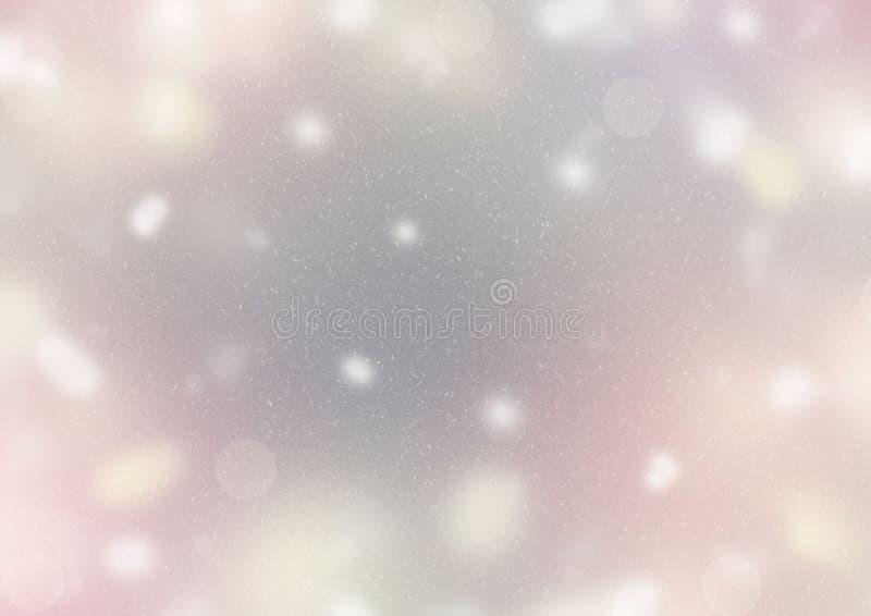 El sol amarillo púrpura gris en colores pastel de la nieve de los colores claros Defocused de los puntos del fondo del extracto s libre illustration