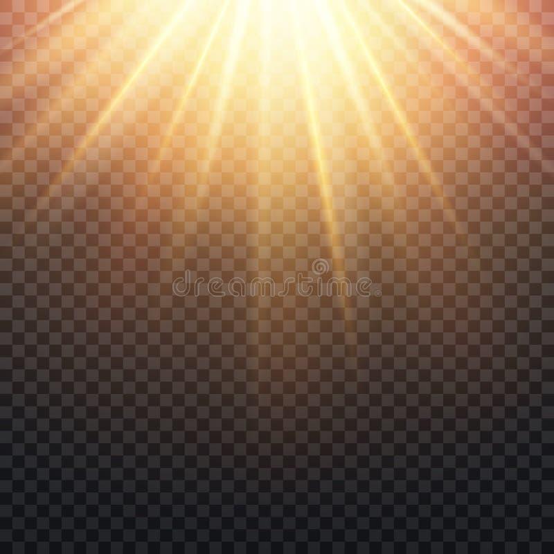 El sol amarillo transparente realista irradia, efecto anaranjado caliente de la llamarada aislado sobre fondo a cuadros libre illustration