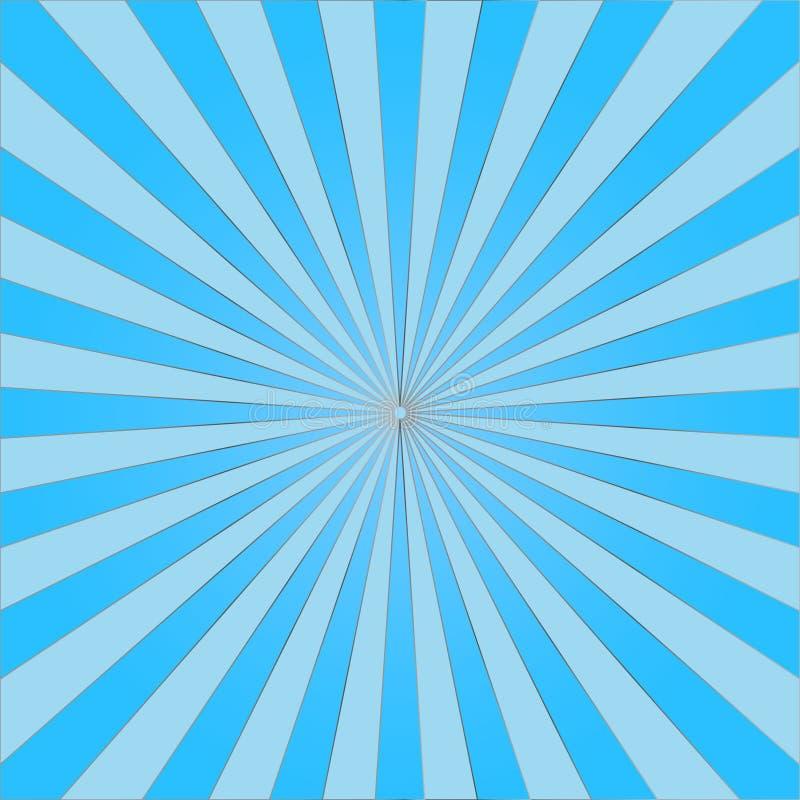 El sol azul claro abstracto irradia el fondo Vector ilustración del vector
