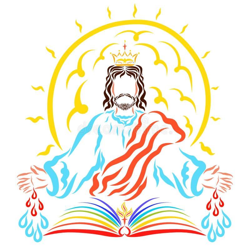 El sol brillante detrás de la bendición Lord Jesus, el libro, el cr ilustración del vector
