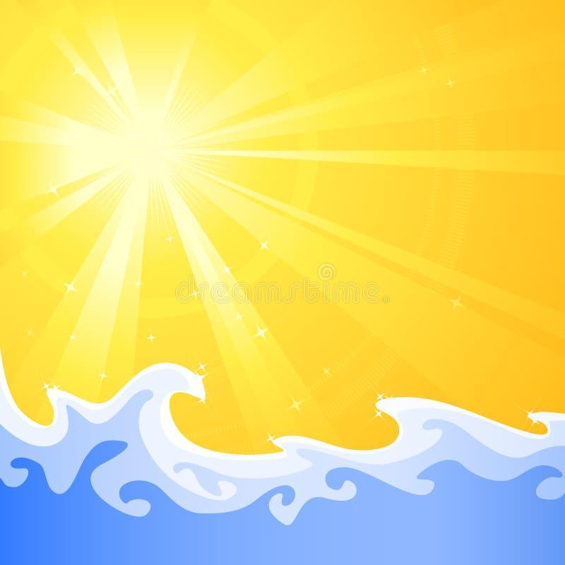 El sol caliente del verano y refresca ondas de agua de relajación ilustración del vector