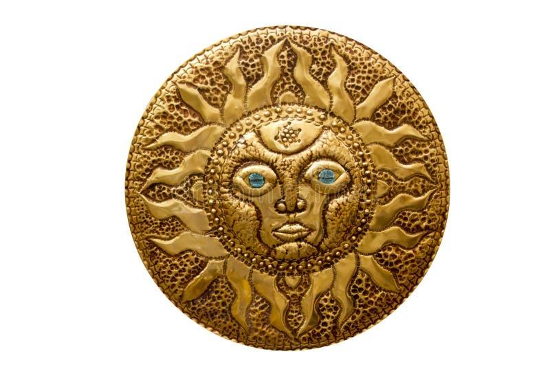 El sol de oro handcraft de mediterráneo aislado imagen de archivo libre de regalías
