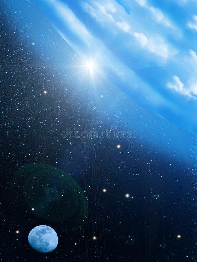 El sol del cielo stars la luna fotografía de archivo