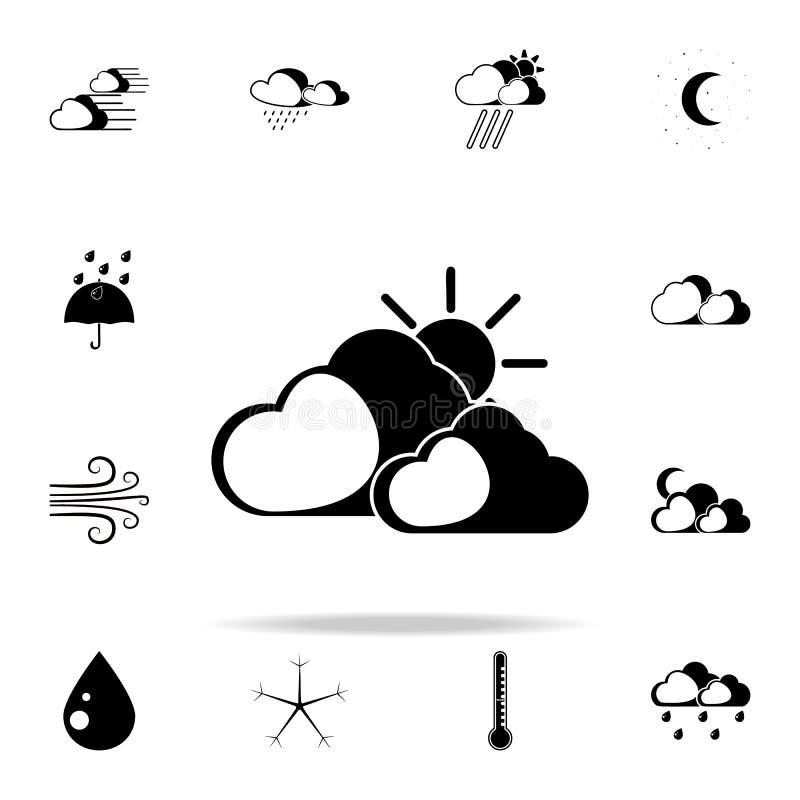 el sol detrás del icono de la muestra de las nubes Resista al sistema universal de los iconos para el web y el móvil ilustración del vector