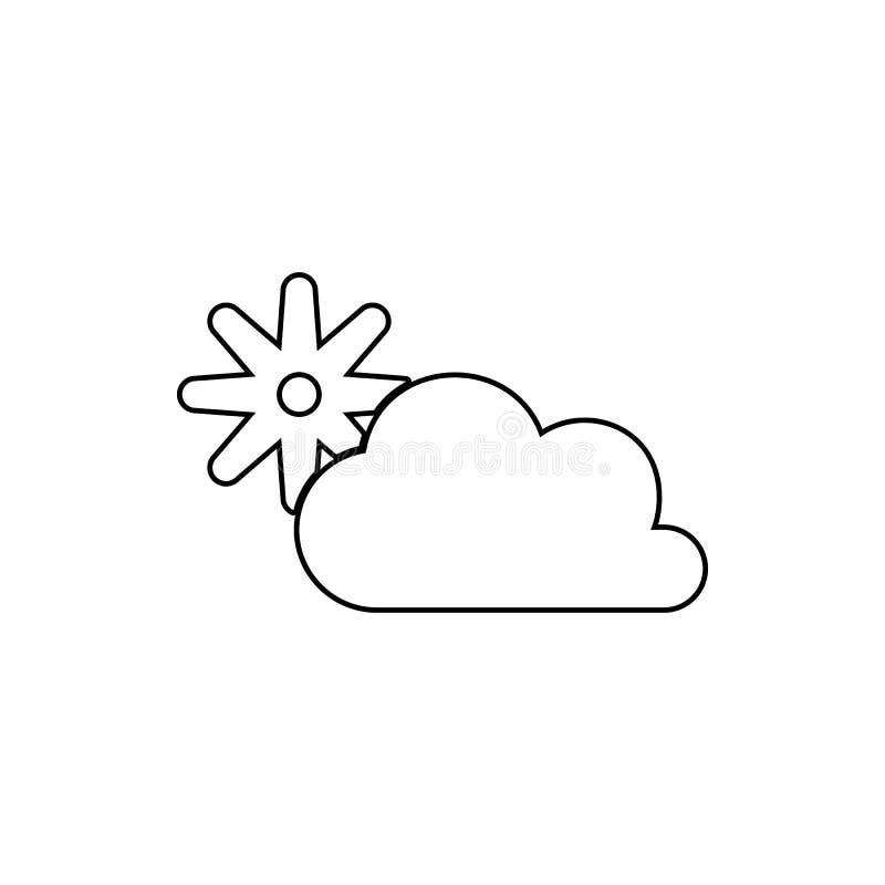 el sol detrás del icono de las nubes Elemento de la web para el concepto y el icono móviles de los apps de la web Línea fina icon stock de ilustración