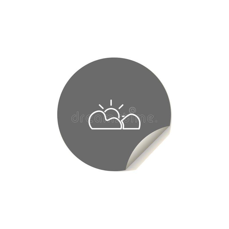 el sol detrás del icono de las nubes Elemento de los iconos del web para los apps móviles del concepto y del web Estilo de la eti libre illustration