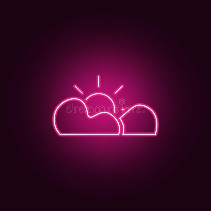 el sol detrás del icono de las nubes Elementos de la web en los iconos de neón del estilo Icono simple para las páginas web, dise stock de ilustración