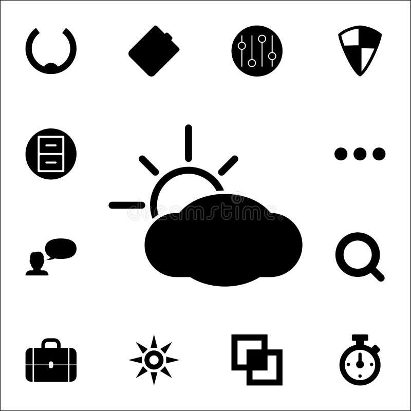 el sol detrás del icono de las nubes sistema universal de los iconos del web para el web y el móvil stock de ilustración