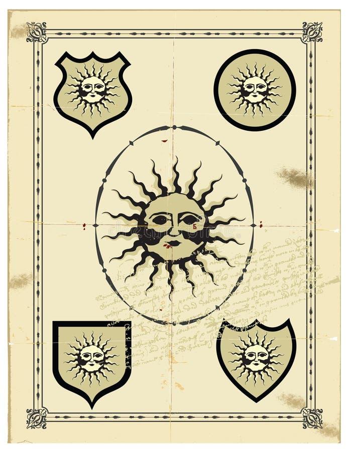 El sol en la paginación vieja. fotos de archivo libres de regalías