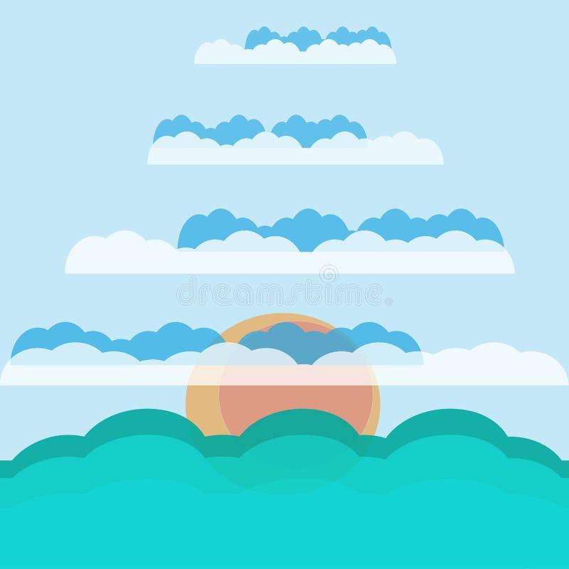 El sol en las nubes sobre el mar ilustración del vector