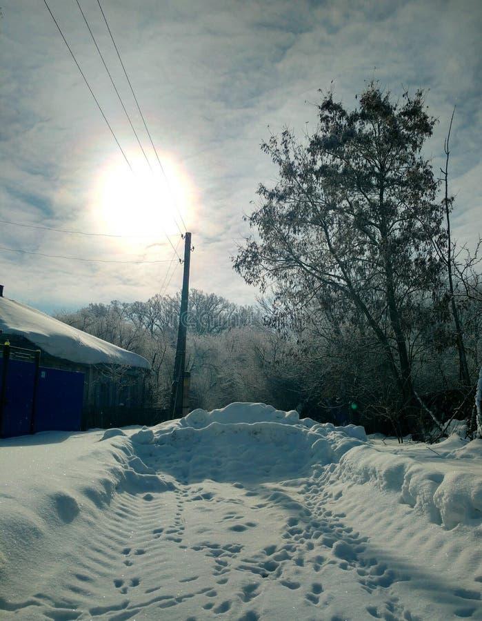 El sol está sobre la casa rural, colocándose al borde del bosque del roble del invierno imágenes de archivo libres de regalías