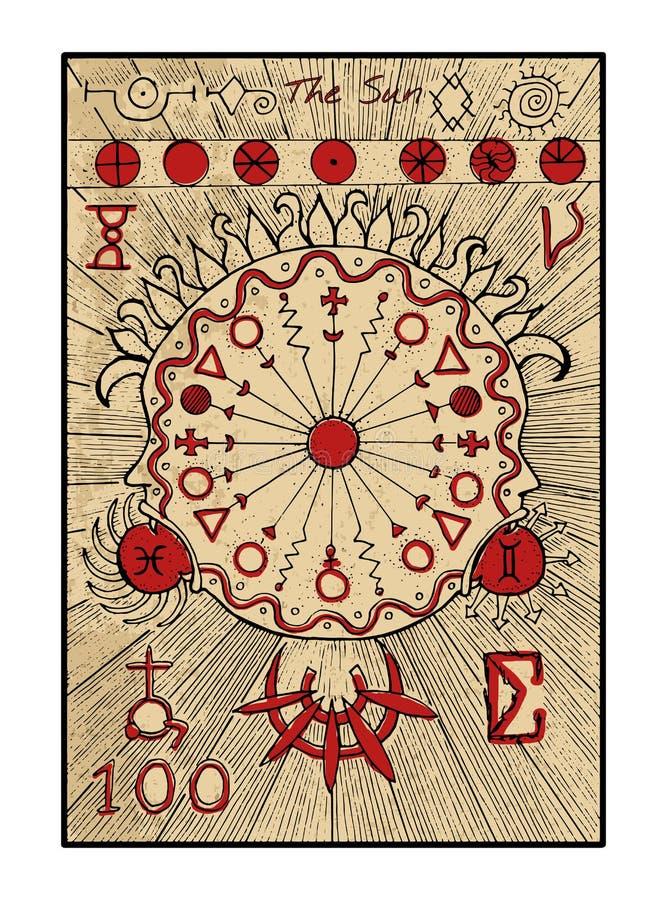 El sol La carta de tarot ilustración del vector