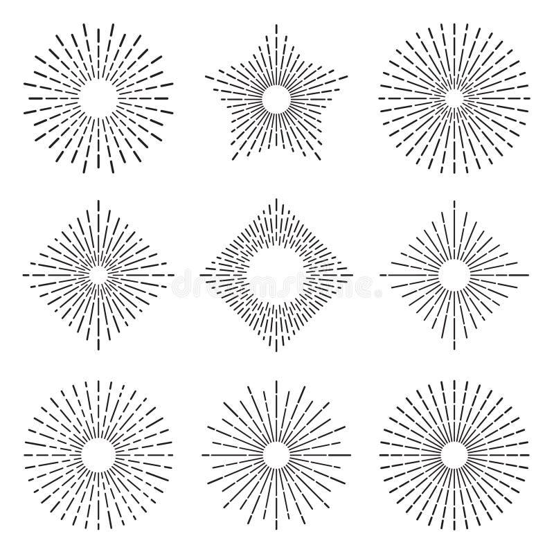 El sol radiante elegante del resplandor solar retro irradia líneas Sol del vintage que estalla los círculos, línea sistema de la  ilustración del vector