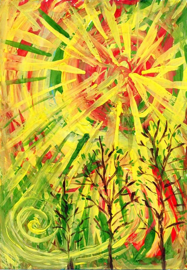 El sol rojo-amarillo. Un cuadro del arte ilustración del vector