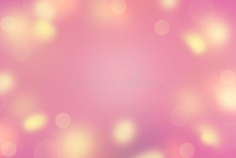 El sol rosado amarillo de los puntos del fondo del extracto de colores de la violeta brillante Defocused de la saturación se desl imágenes de archivo libres de regalías