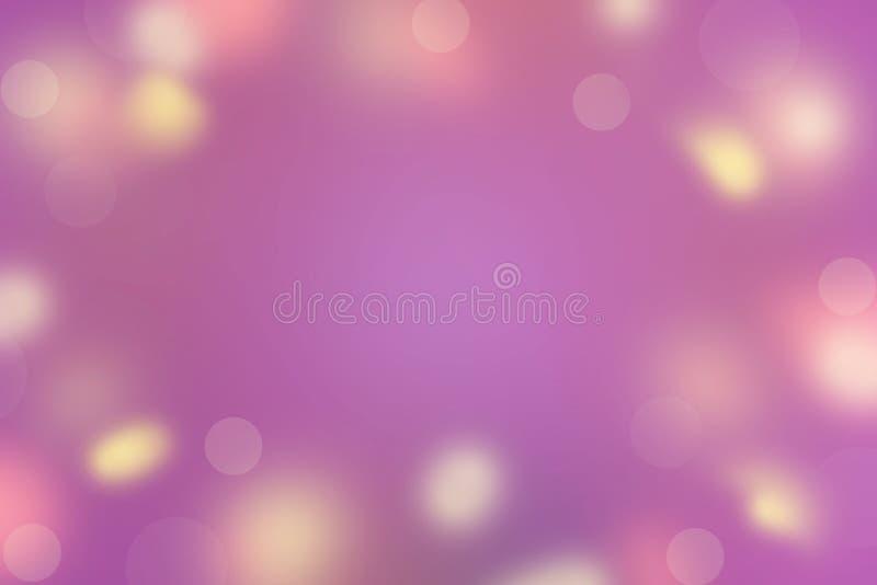 El sol rosado amarillo de los puntos del fondo del extracto de colores de la violeta brillante Defocused de la saturación se desl ilustración del vector
