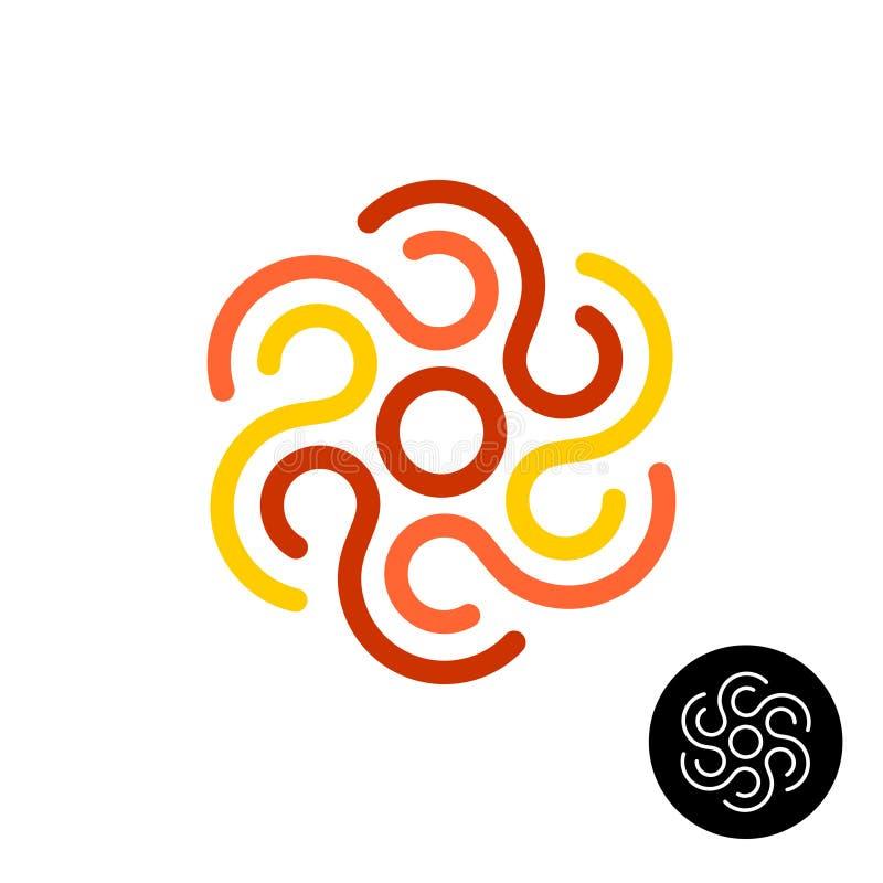 El sol tribal o el otro logotipo abstracto del elemento del diseño Línea líneas finas símbolo del estilo stock de ilustración