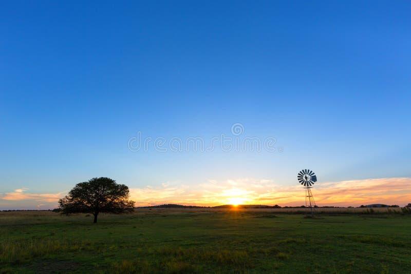 El sol, un molino de viento y un árbol solitario fotos de archivo libres de regalías