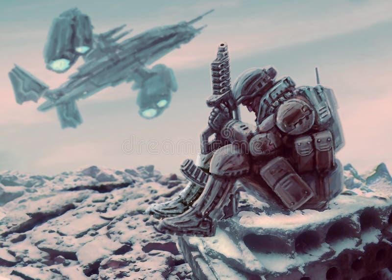 El soldado del futuro se sienta con el arma de plasma grande imagen de archivo