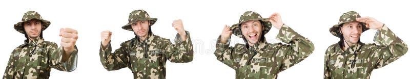 El soldado divertido aislado en blanco imágenes de archivo libres de regalías