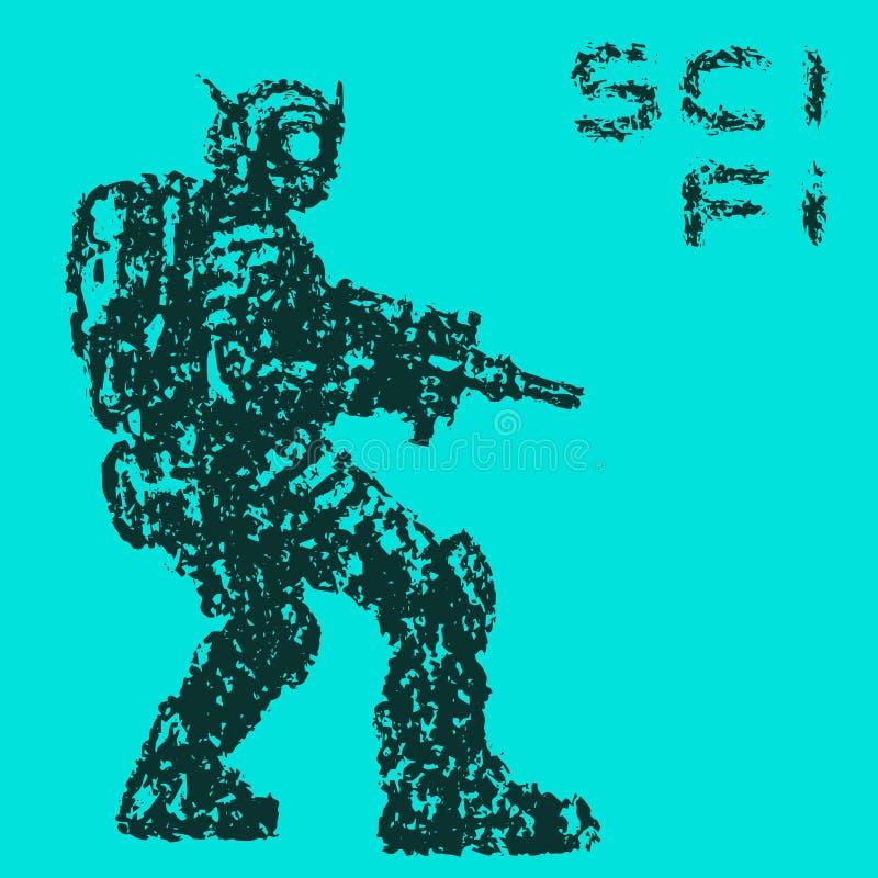 El soldado fantástico apunta del rifle del plasma al enemigo Ilustración del vector stock de ilustración