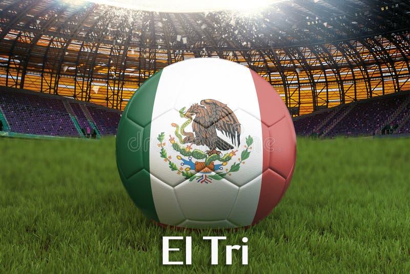 El som är tri på det Mexico språket på fotbollslagboll på stor stadionbakgrund Begrepp för Mexico lagkonkurrens Mexico flagga på  stock illustrationer