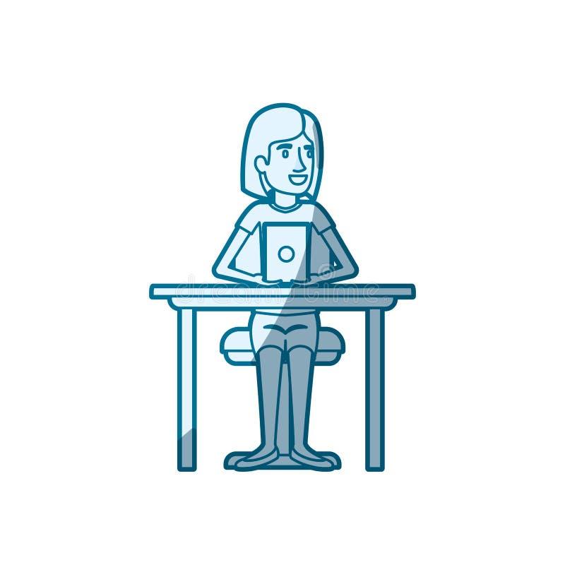 El sombrear azul de la silueta del color de la mujer con el pelo corto y el sentarse en silla en mesa con tecnología del disposit libre illustration
