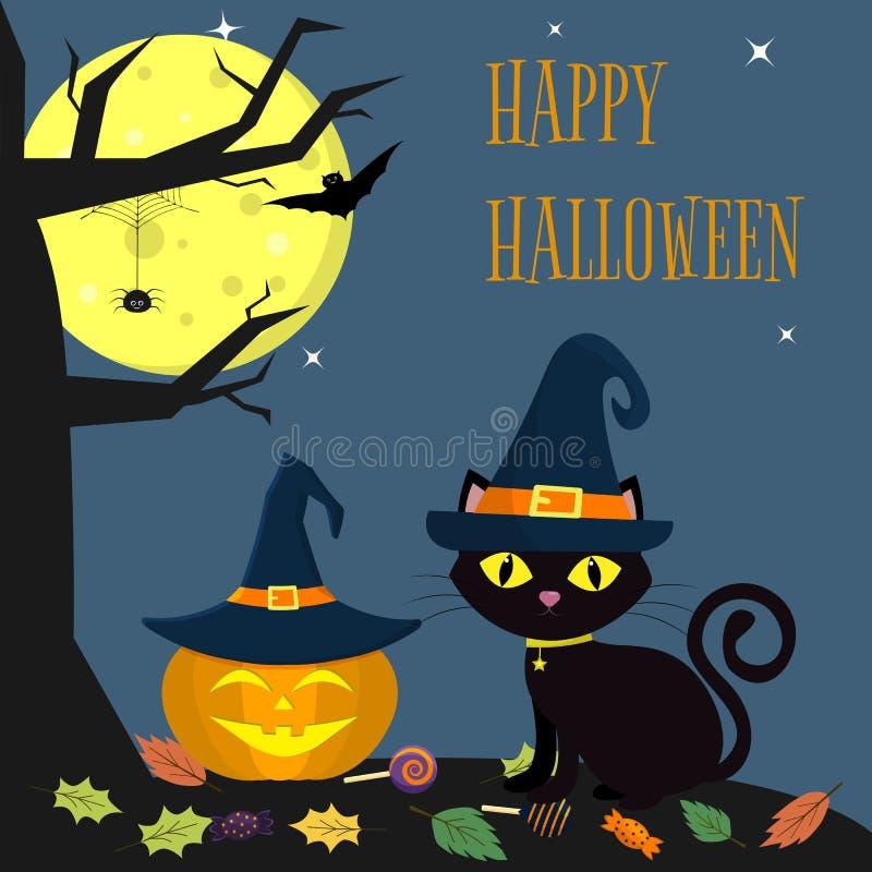 El sombrero de la bruja del gato de Halloween se sienta al lado de la calabaza en el sombrero Cerca un árbol, una araña, una Luna stock de ilustración