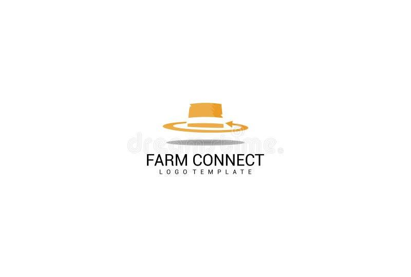 El sombrero de la granja conecta la plantilla del logotipo libre illustration