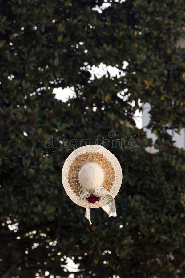 El sombrero de las mujeres colgado imagen de archivo libre de regalías