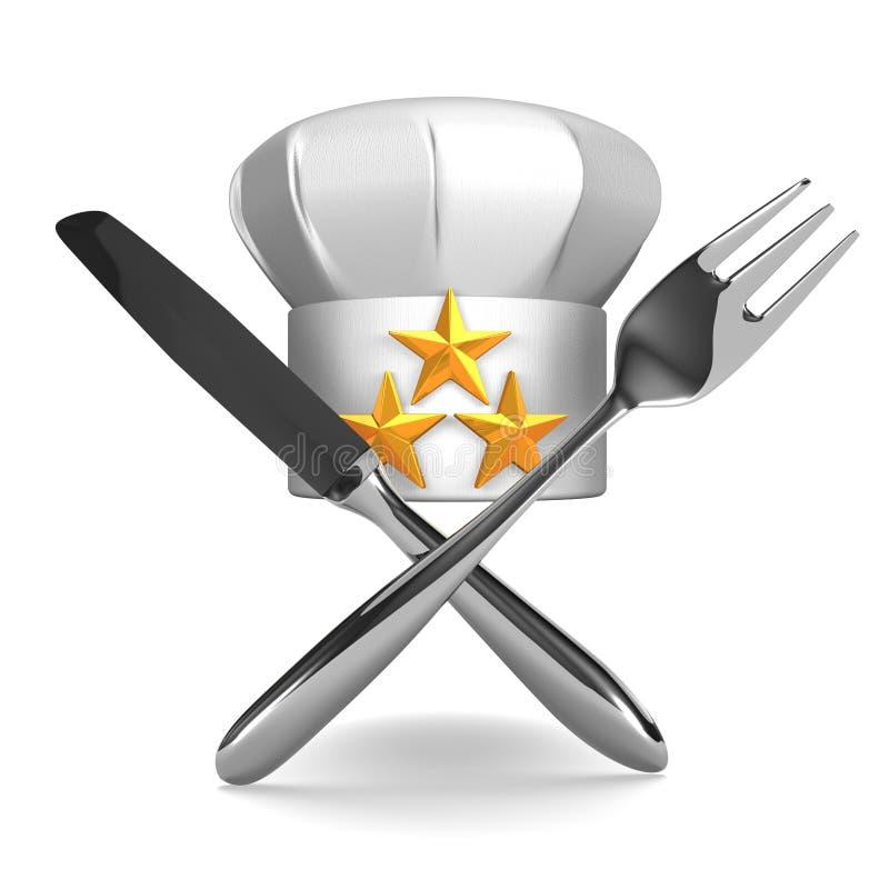 El sombrero del cocinero con los cubiertos Front View ilustración del vector