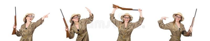 El sombrero del safari de la mujer que lleva en blanco fotos de archivo