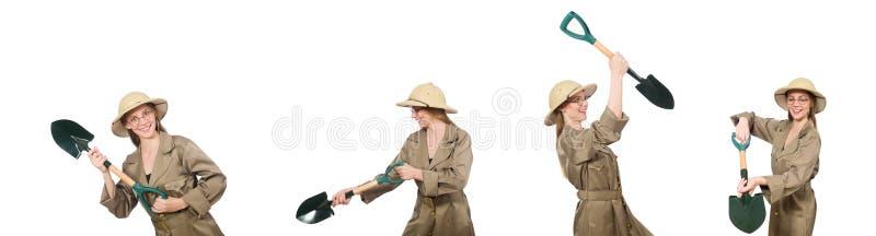 El sombrero del safari de la mujer que lleva en blanco foto de archivo