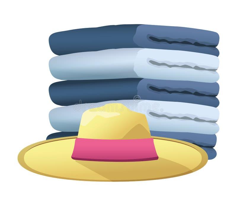 El sombrero del verano y y las toallas llenaron para arriba libre illustration