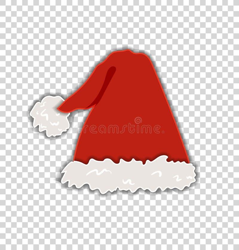 El sombrero mullido de Papá Noel del vector aislado en el fondo transparente, celebración de la Navidad, elemento decorativo fest libre illustration