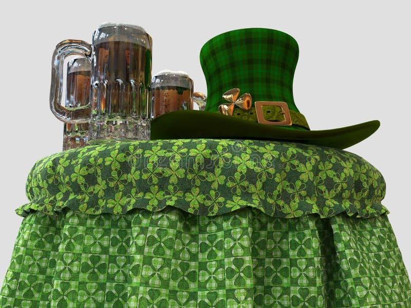 El sombrero y la cerveza del duende en la tabla stock de ilustración