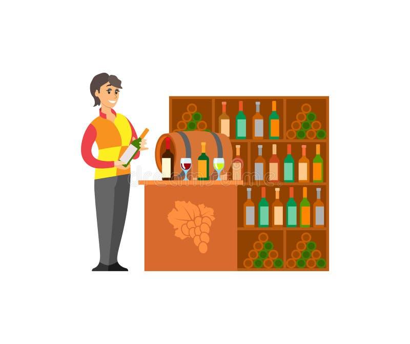 El Sommelier Bartender con las botellas de vino fijó vector stock de ilustración
