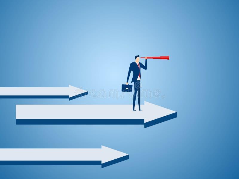 El soporte del hombre de negocios en flecha del gráfico usando el telescopio que busca el éxito, oportunidades, el negocio futuro libre illustration
