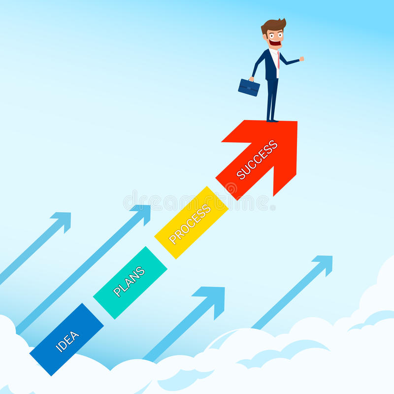 El soporte del hombre de negocios en el gráfico del crecimiento de la flecha que busca el éxito, oportunidades, el negocio futuro stock de ilustración