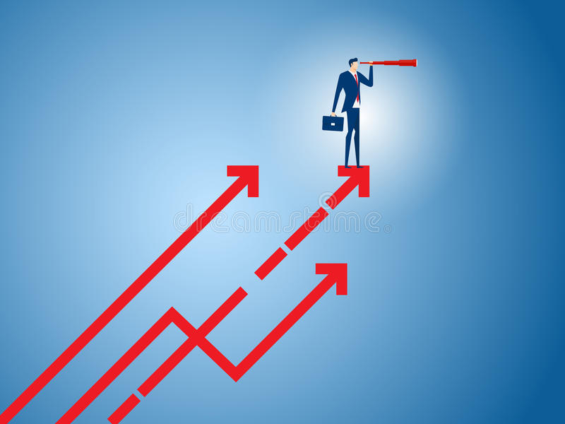 El soporte del hombre de negocios en gráfico del crecimiento de la flecha usando el telescopio que busca el éxito, oportunidades, stock de ilustración