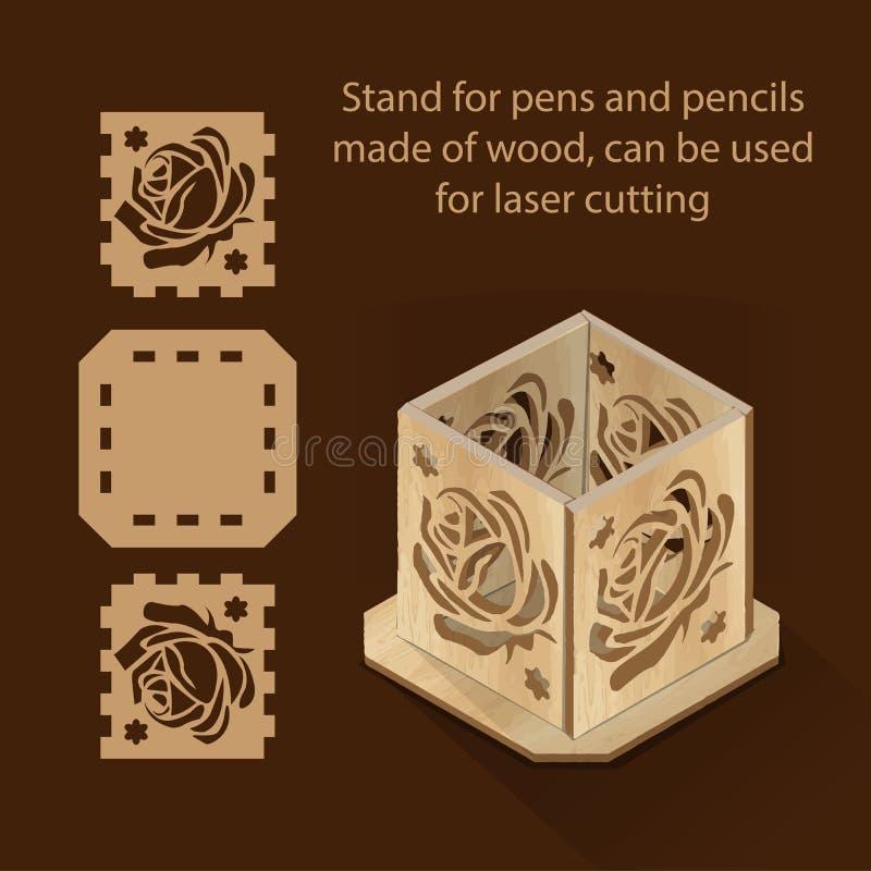 El soporte para las plumas y los lápices hechos de la madera, se puede utilizar para el corte del laser ilustración del vector