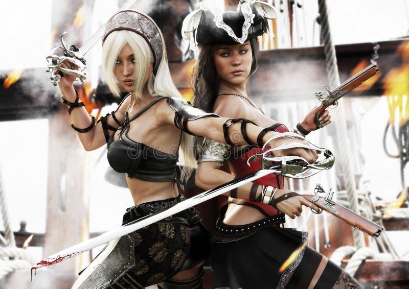 El soporte pasado Dos hembras del pirata que luchan para el control de allí envían ilustración del vector
