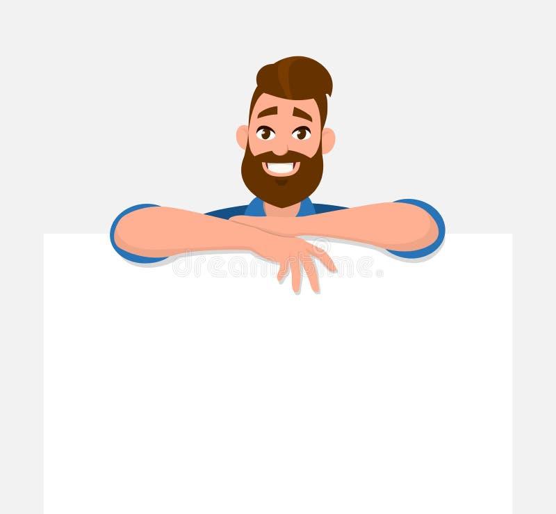El sostenerse feliz/el mostrar/que exhibe del hombre joven el tablero/la bandera/el cartel en blanco blancos stock de ilustración