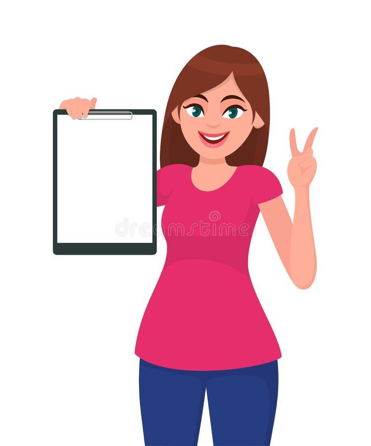 El sostenerse hermoso sonriente feliz/que muestra de la mujer joven una victoria en blanco de la mano del tablero y del gesto, V  libre illustration