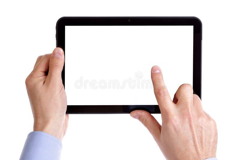 El sostenerse y tablilla digital conmovedora imagen de archivo